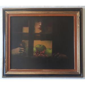 Michèle SALMON (née en 1946) huile sur toile composition XXème siècle