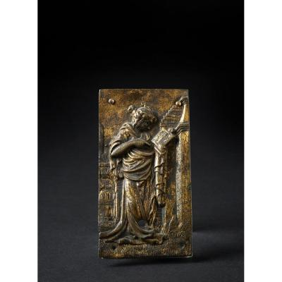 Plaquette En Bronze Doré 15ième