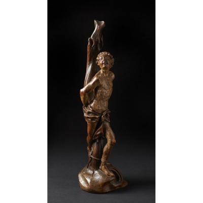 Polychrome Wood Sculpture 16th Representing Saint Sebastian