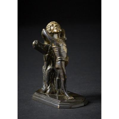 Petit Bronze Doré 15ième, Représentant Saint-sebastien
