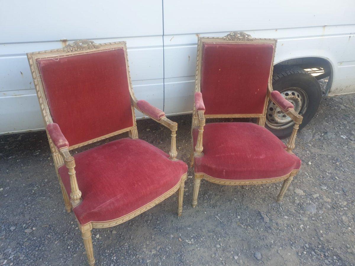 Paire De Fauteuil A La Reine,fauteuil Louis XVI Laque Et Bois Sculpte