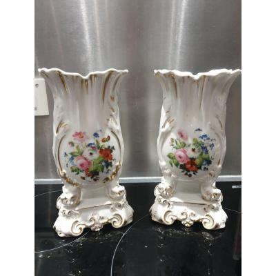 Paire De Vase En Porcelaine De Paris XIXeme