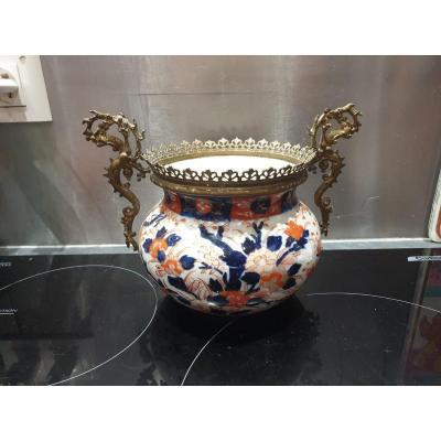 Ancien Vase,cache Pot Imari Japon XIXeme Monture Bronze
