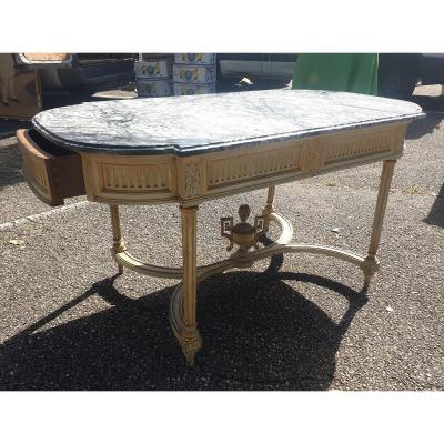 Ancienne Grande Table De Milieu Louis XVI Laque Blanc Dessus Marbre Fin XIXeme