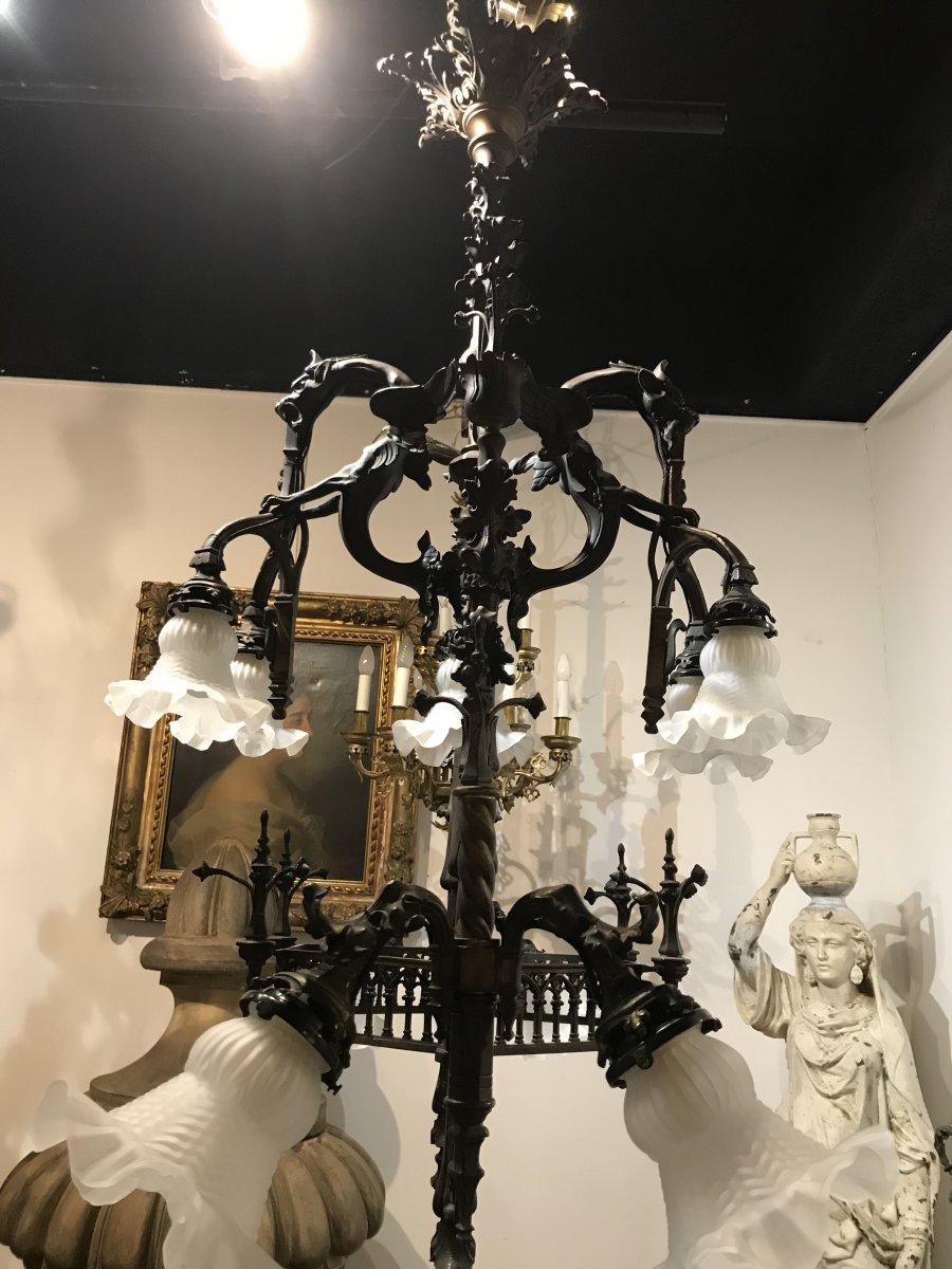 Lustre En Bronze Gothique Viollet Le Duc