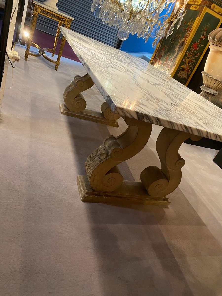 50s Marble And Stone Dining Table