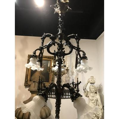 Viollet Le Duc Gothic Bronze Chandelier