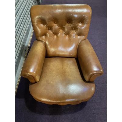 Paire de fauteuil en Cuir De Style Anglais