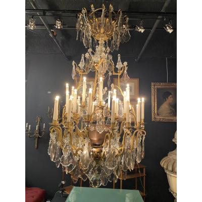Important lustres Cage De Style Napoléon III Des Années 40 à 32 Lumière Et Quatre Poignard