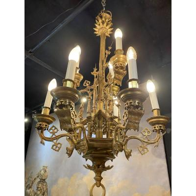 Gothic Style Bronze Chandeliers Nine Lights