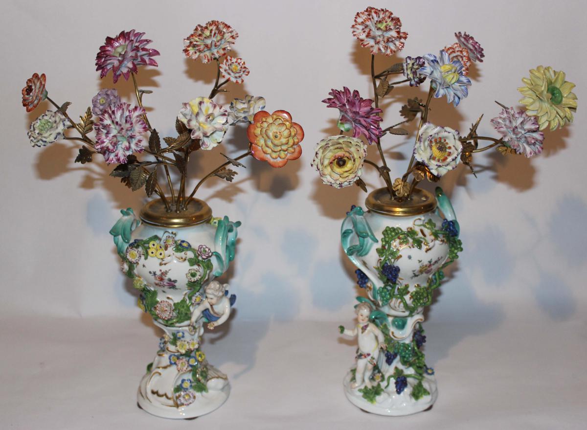 Pair Of Vases Pikes Flowers Meissen Porcelain