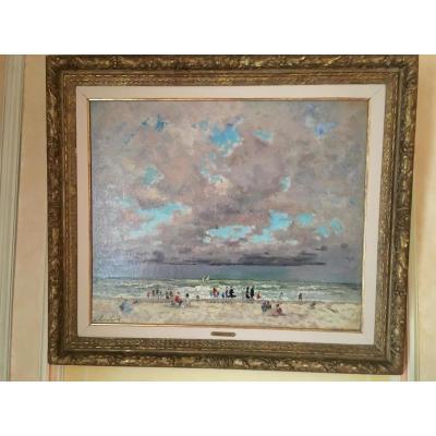 Une plage en Normandie d'André HAMBOURG (1909-1999)