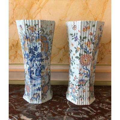 Paire vases Delft XVIIIe