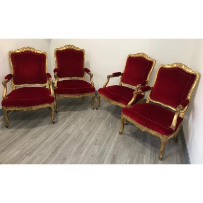 Suite de quatre grands fauteuils d'époque Régence