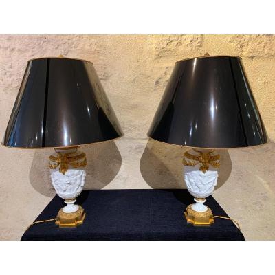 Paire de lampes d'époque 19ème siècle