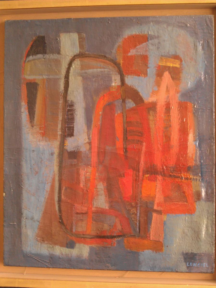 """Tableau Abstrait Par """"vera Braun Lengyel"""" Daté 1943."""
