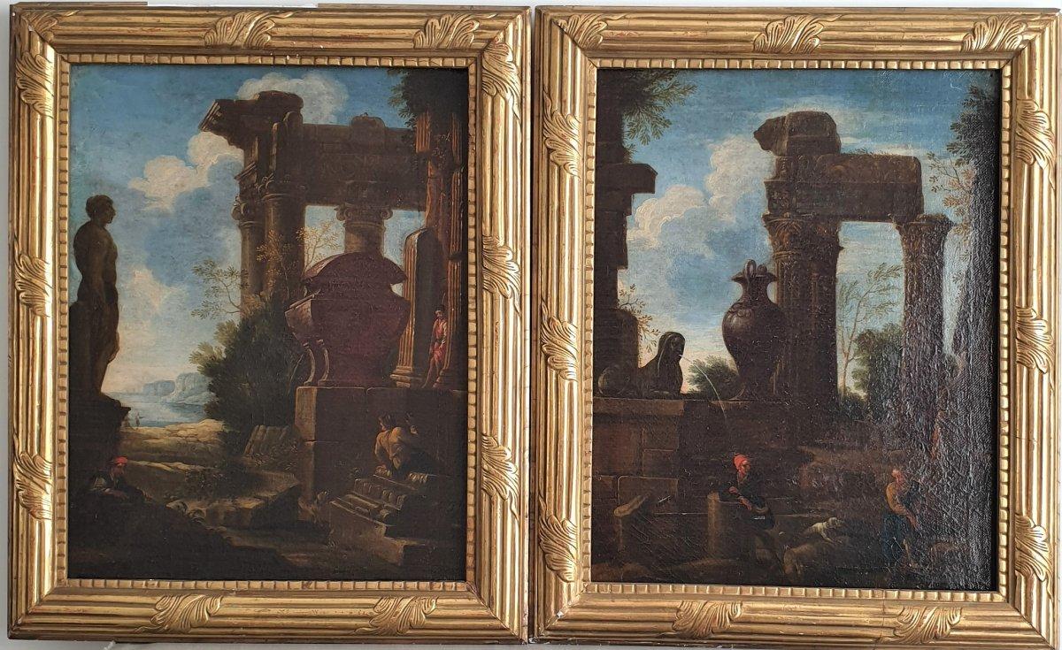 Paire De Caprices Architecturaux, Attribuée à Pietro Paltronieri (1673-1741)