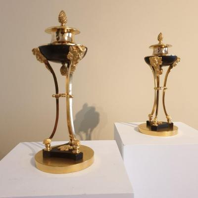 Pair Of Cassolettes Forming Candlesticks Circa 1830