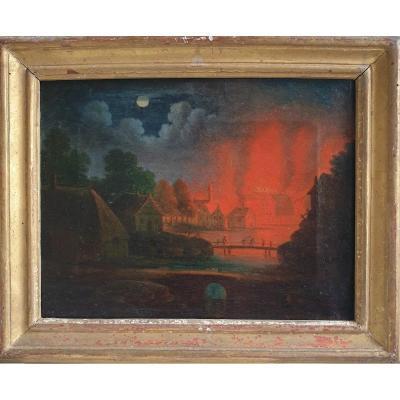 """""""Incendie Nocturne"""", Huile sur Toile du XVIIIème Siècle."""