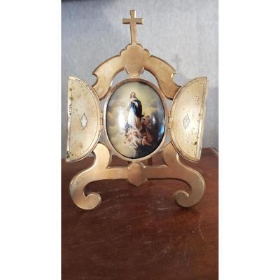 Assomption De La Vierge.  émaillée Polychrome