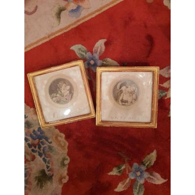 Elegant pair of gallant, round engravings with square, gold framing.&nbsp; .&nbsp; Representing couples in romantic scenes.&nbsp; Very beautiful details of the 18th costmes.&nbsp; .&nbsp; Annotations below.<br />