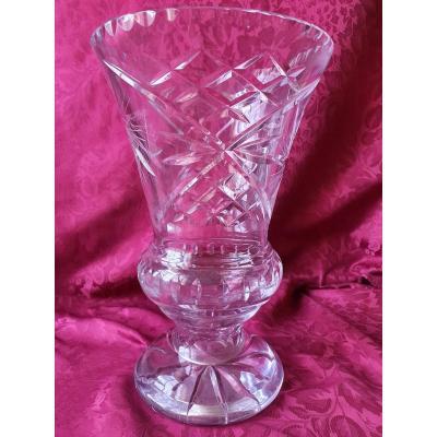 Grand Vase En Cristal Forme Médicis