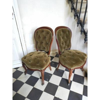 Pair Of Napoleon 3 Padded Chairs