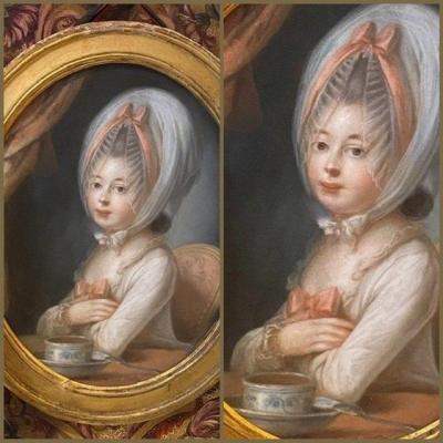 Tout en beauté, jeune fille à son chocolat, XVIIIè siècle.