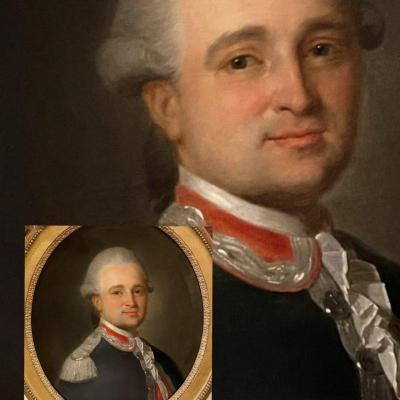 Noble, Capitaine, Maison militaire du Roi,** (A. Vestier attr) + un brevet. Ep. Louis XVI.