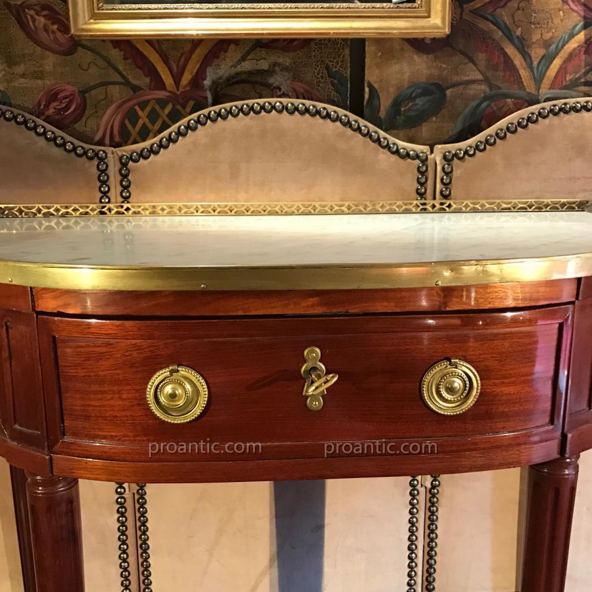 Console demi-lune Louis XVI, estampillée de F. Schey