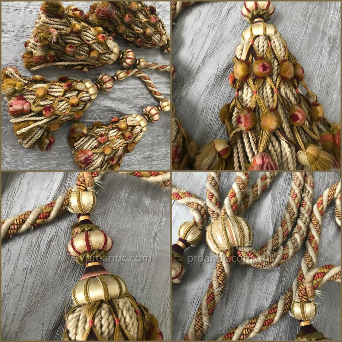 4 paires d'importantes embrases = 16 pompons, XIXè, Nap III-photo-4