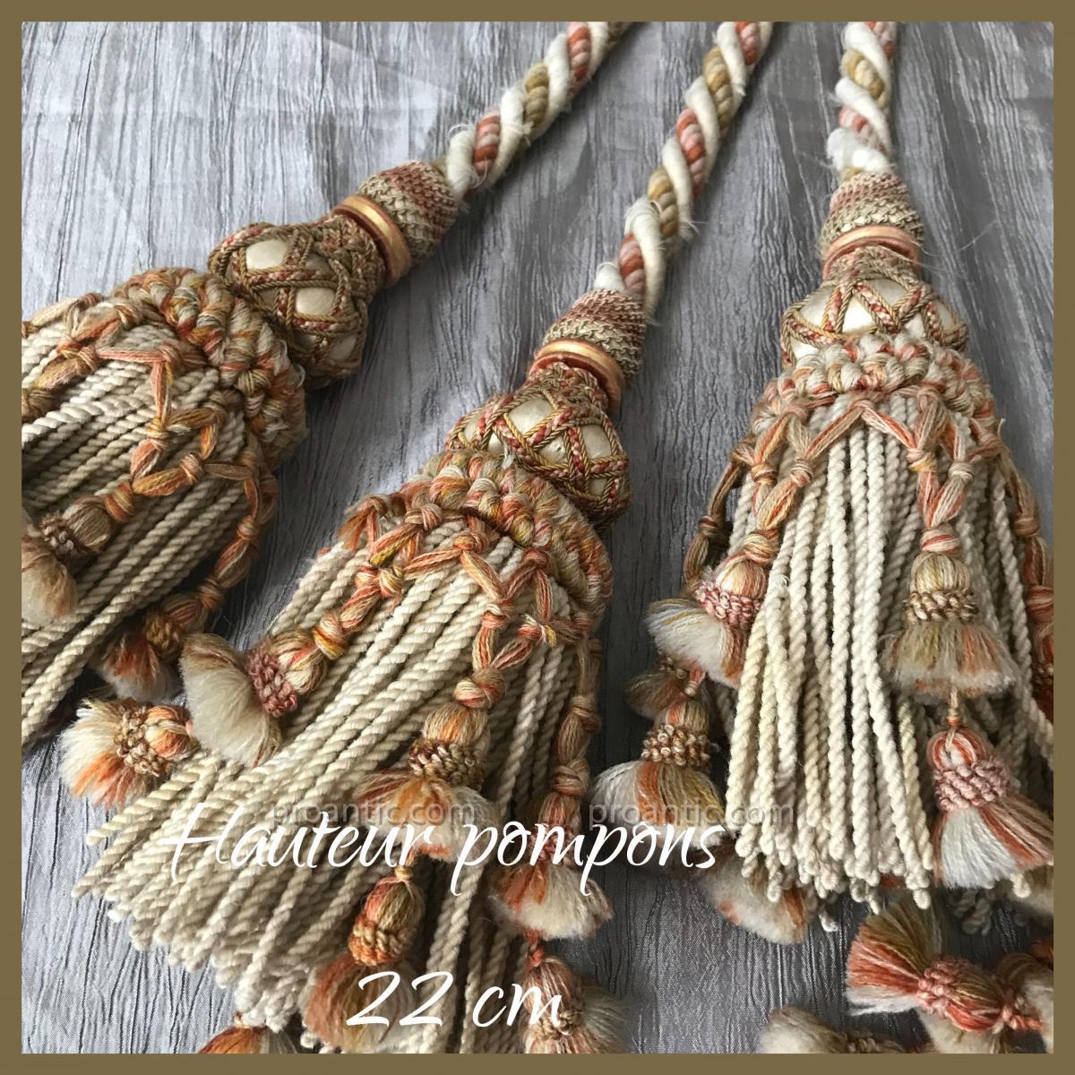 4 paires d'importantes embrases = 16 pompons, XIXè, Nap III-photo-3