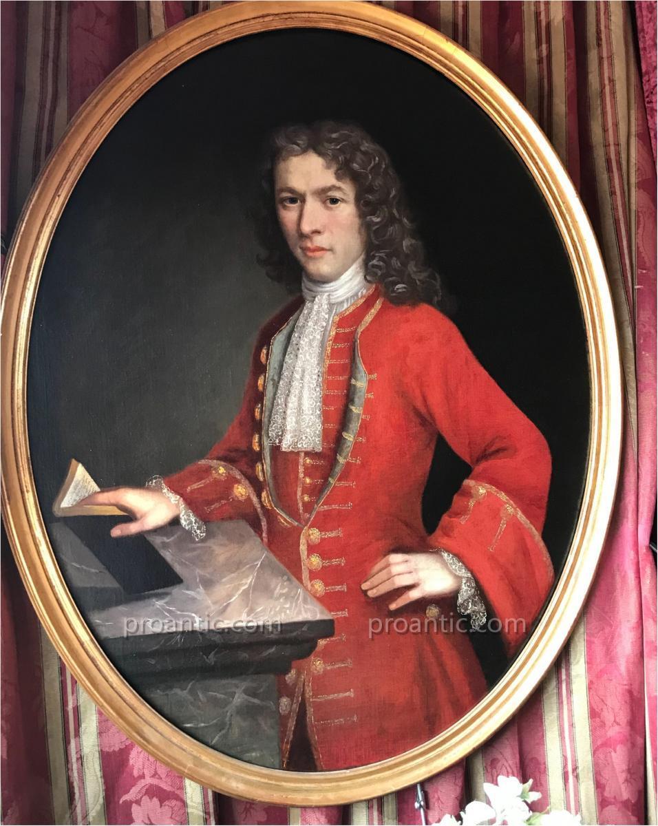 Noble du Piémont en habit rouge, époque Régence, XVIIIe.**