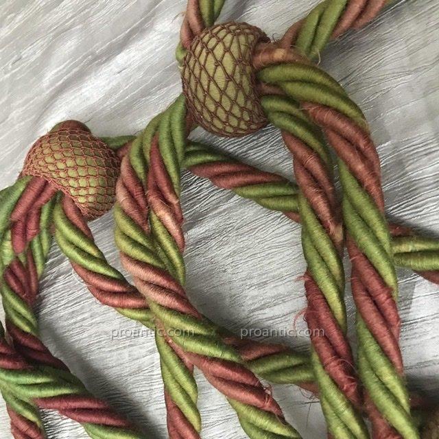 3 paires d'importantes embrases = 12 pompons, XIX -photo-2
