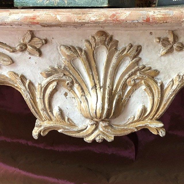Naples XVIIIè, console basse, sculptée,  faux marbre. -photo-2