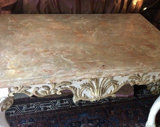 Naples XVIIIè, console basse, sculptée,  faux marbre. -photo-5