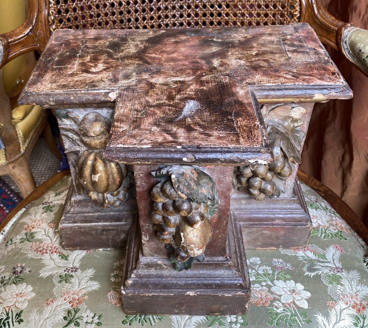 Paire de socles, bois sculpté polychrome, fin XVIIè, Provence.-photo-1