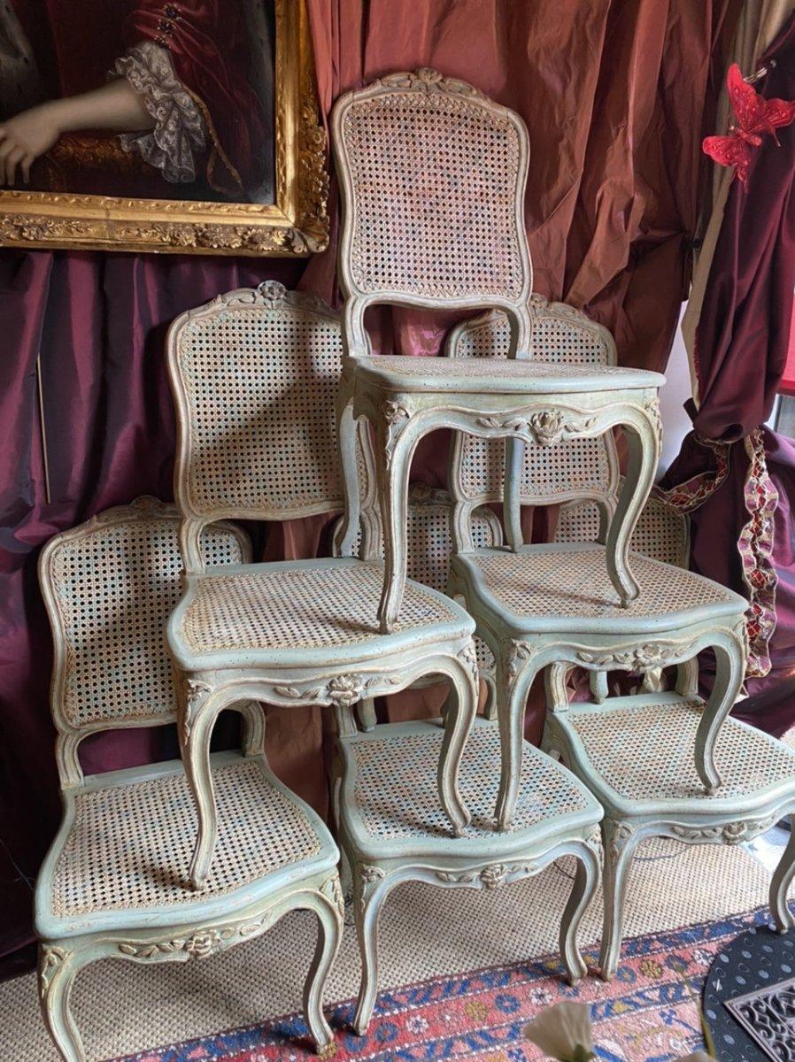 F. CANOT.  Rare suite de 6 chaises  estampillées, ép. Louis XV. Lyon.