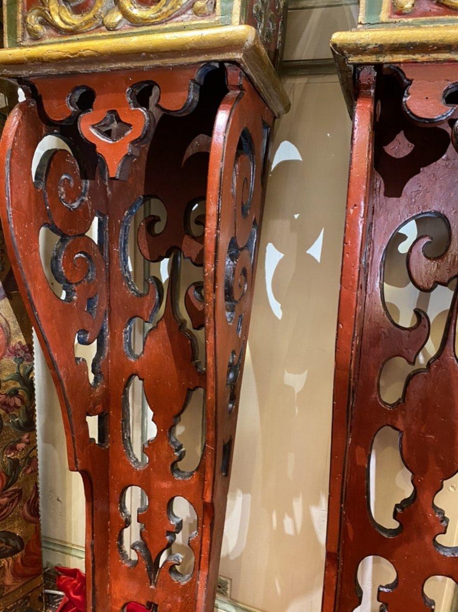 Exceptionnelle paire de sellettes polychromes XVIIIe, Régence. -photo-3