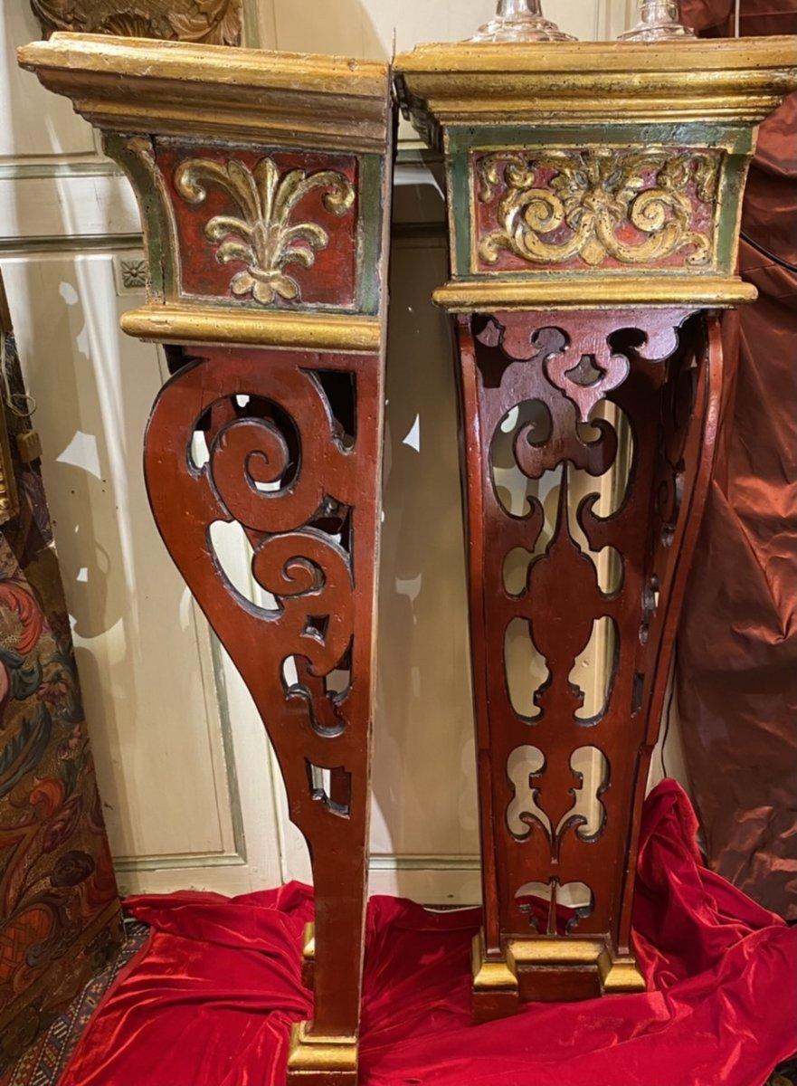 Exceptionnelle paire de sellettes polychromes XVIIIe, Régence. -photo-5