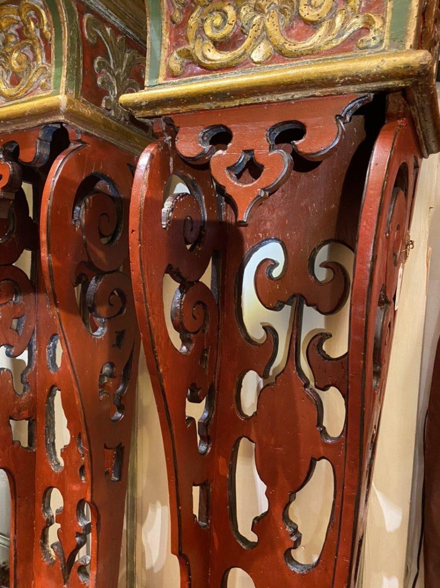 Exceptionnelle paire de sellettes polychromes XVIIIe, Régence. -photo-6