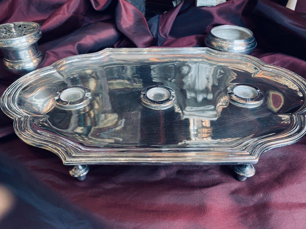 Plateau écritoire argenté, «C» couronné, ép.  Louis XV 1745-1749. -photo-7