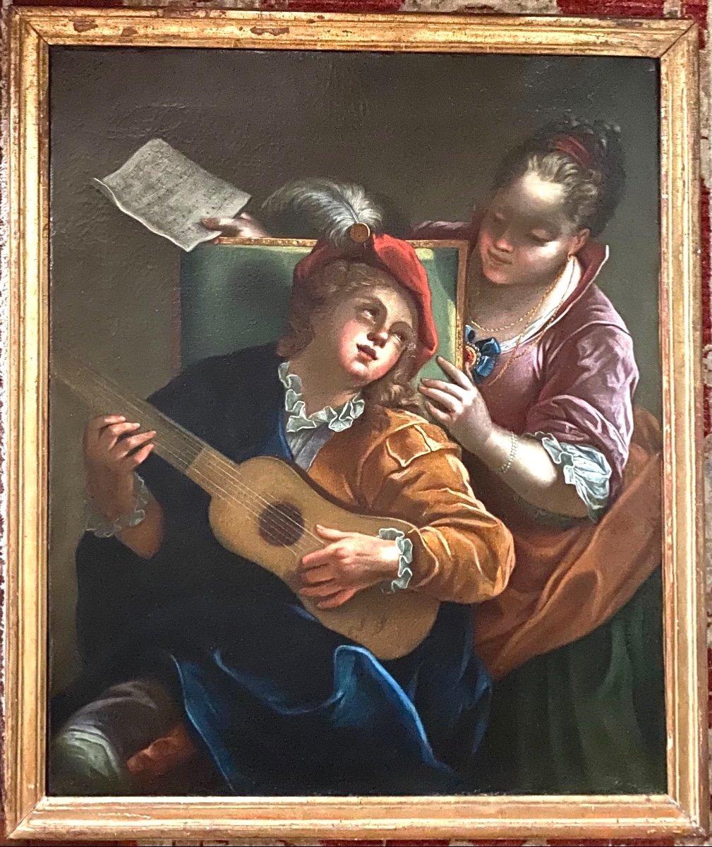 Le duo ou la  leçon dangereuse, d'ap. Raoux, époque Régence XVIIIè. -photo-3