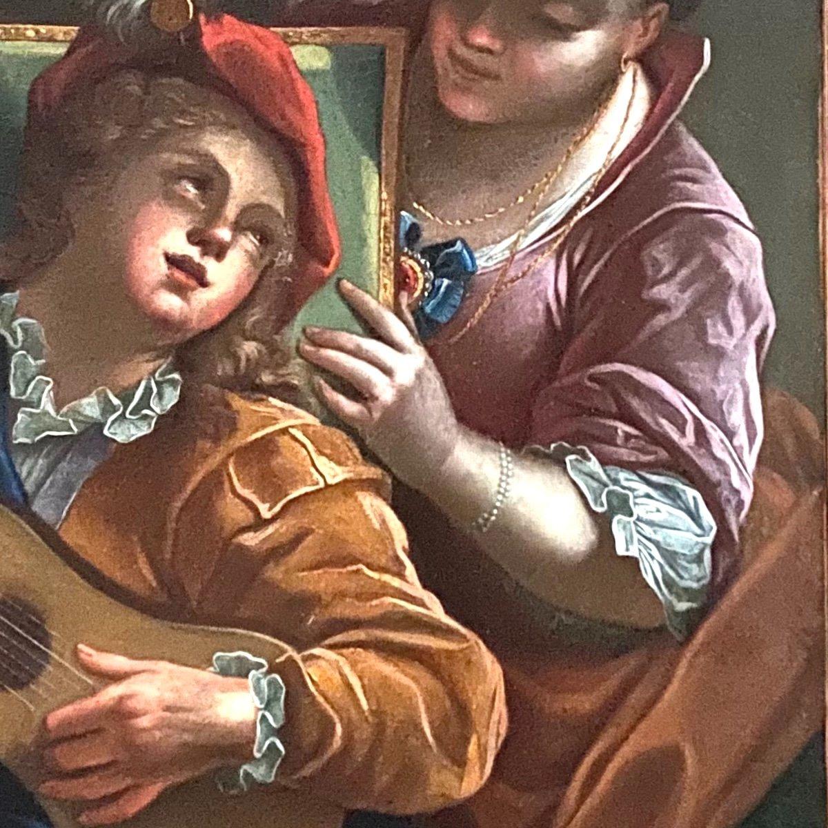 Le duo ou la  leçon dangereuse, d'ap. Raoux, époque Régence XVIIIè. -photo-1