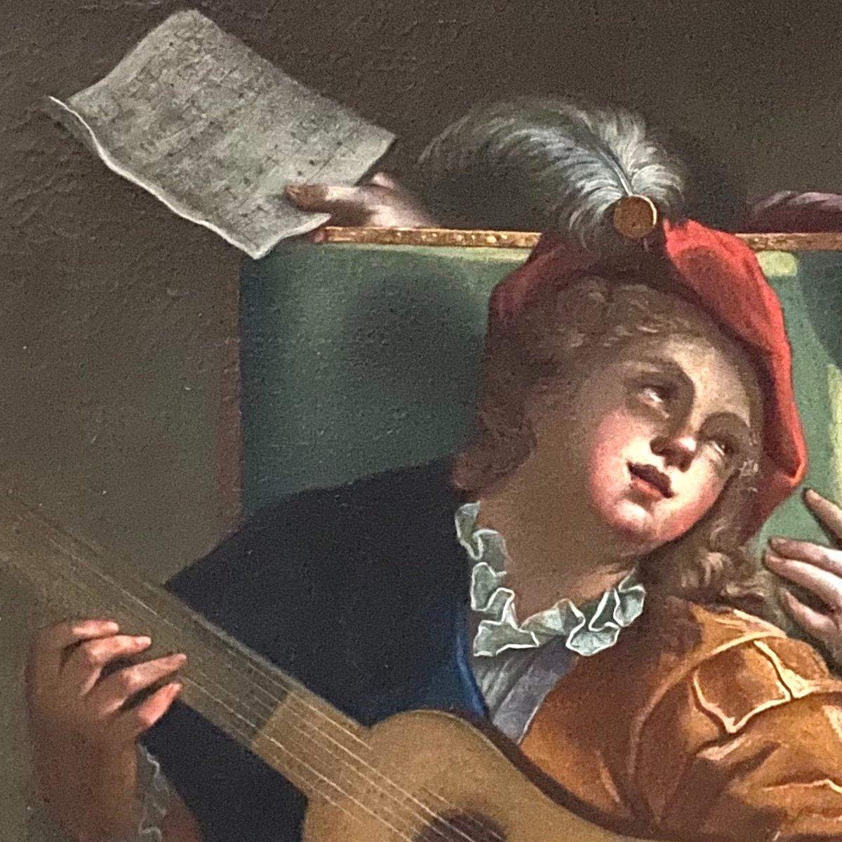 Le duo ou la  leçon dangereuse, d'ap. Raoux, époque Régence XVIIIè. -photo-2