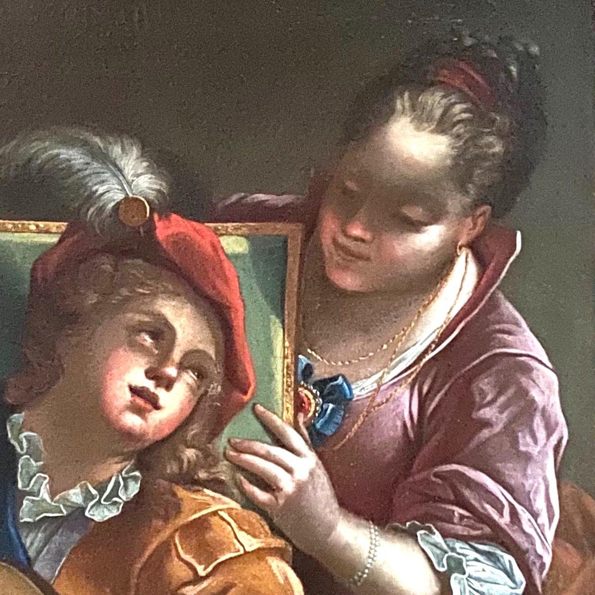 Le duo ou la  leçon dangereuse, d'ap. Raoux, époque Régence XVIIIè. -photo-4
