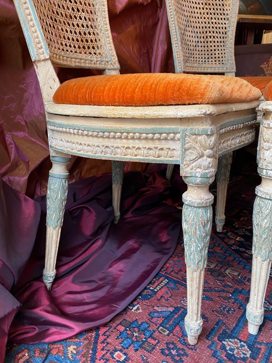Rare suite de 4 chaises d'époque Louis XVI - 18ème. -photo-2