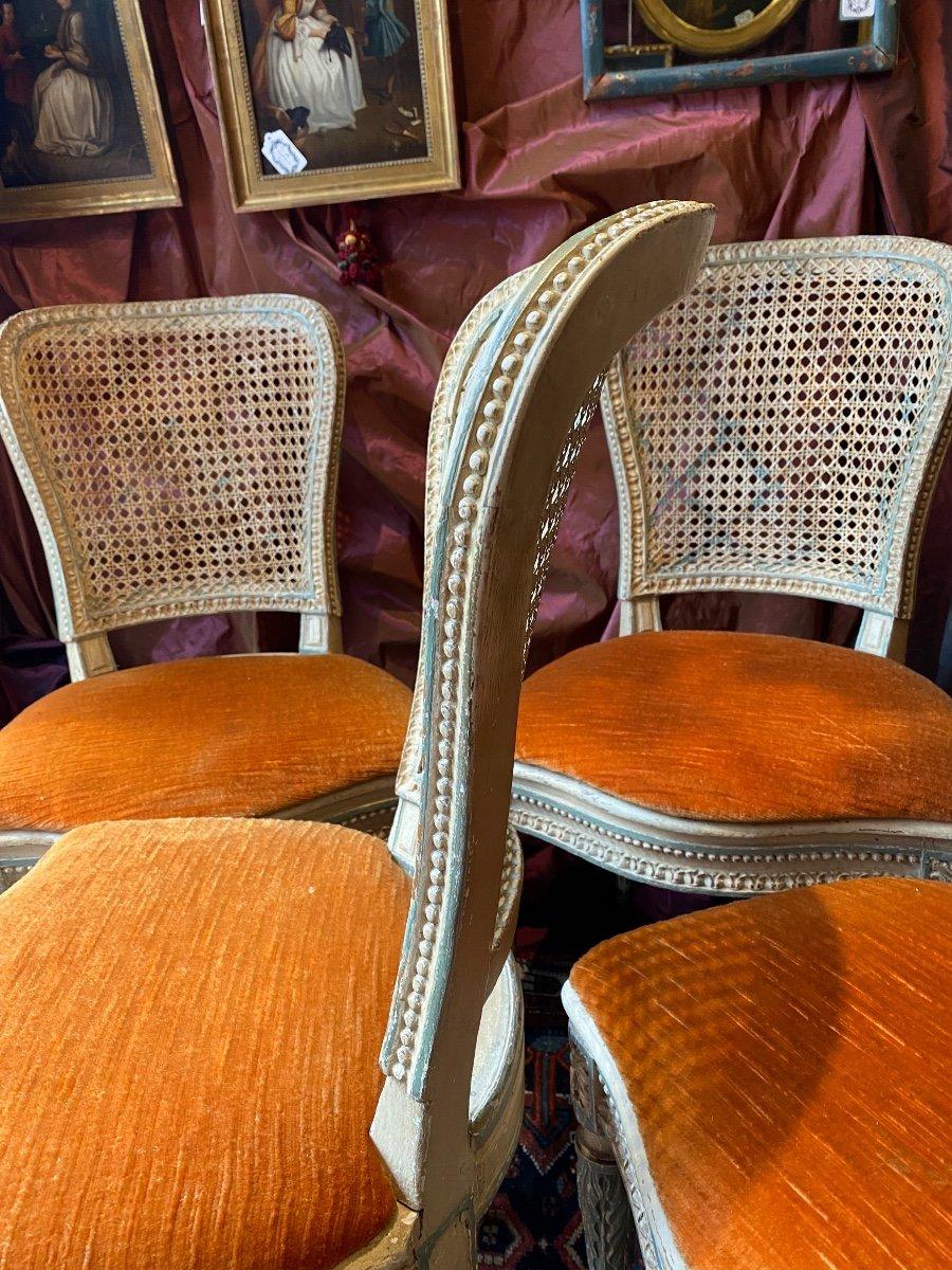Rare suite de 4 chaises d'époque Louis XVI - 18ème. -photo-1
