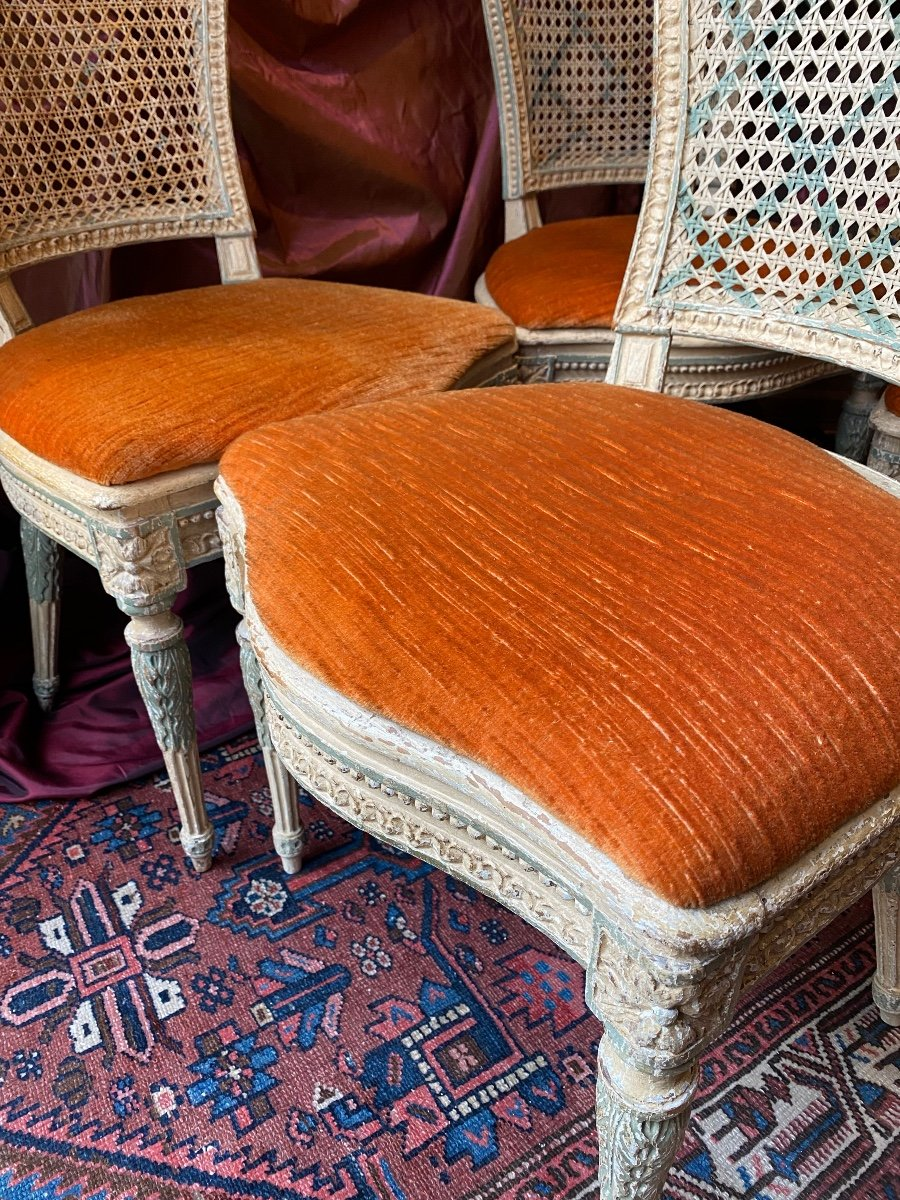 Rare suite de 4 chaises d'époque Louis XVI - 18ème. -photo-3