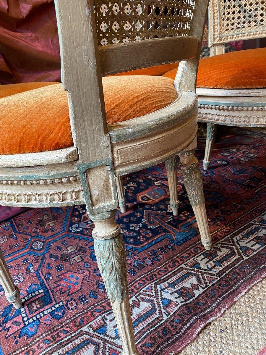 Rare suite de 4 chaises d'époque Louis XVI - 18ème. -photo-4